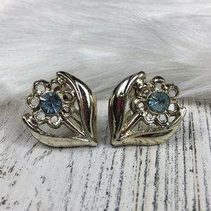 Vintage Blue Rhinestone Flower Screw Back Earrings
